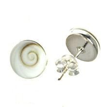 Ohrstecker Shiva Auge Muschel, Operculum 6 - 12 mm 925 Sterling Silber F082