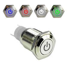 16mm 12V KFZ Einbauschalter Drucktaster Taster Druckschalter Beleuchtet