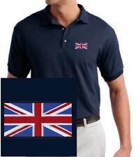 British Flag EMBROIDERED Union Jack Navy Blue Polo Shirt England UK *NEW*