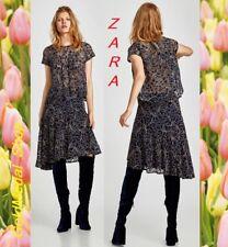 ZARA Midi Asymmetric Two-Tone Lace Skirt New w/ Tag Navy (RT$69.90) Size: XS;S;L