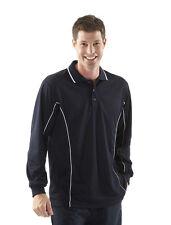 Mens Long Sleeve Polo Shirt Size S 3XL 4XL 5XL Black/White Sports Contrast Top