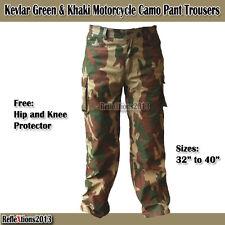 Motorbike Kevlar Green & Khaki Camo Jeans Cargo Motorcycle Pant Protection