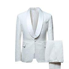 Mens White Jacket Jacquard Paisley Groom Tuxedos Wedding Dinner Prom Suits