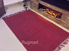 ECO Friendly Plain BURGUNDY RED Natural Cotton Kilim Washable Rug S-Large 40%OFF