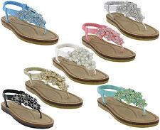 Sandalias Mujer de dedo TIRA TRASERA Savannah Con Joyas Verano Playa Planos