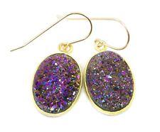 14k Gold Druzy Earrings Purple Peacock Teardrops Bezel Large Drusy Sterling Drop