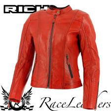 Richa Lausanne Rot Damen Retro Leder Motorrad Motorrad Jacke