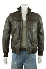 Men Brown Classic Biker Leather Napa Fashions Zip Jacket Bike Rock