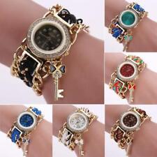 Vintage Women's Ladies Braided Band Rhinestone Analog Quartz Dress Wrist Watches