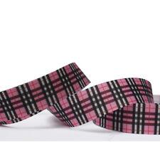 """5/10/50Y 7/8""""22mm Pink Grid Grosgrain Cartoon Printed Pattern Ribbon Craft"""