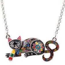 Bonsny CAT gioielli pendente dello smalto fascino Animali Pet Tag Collana Donne Ragazze