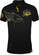 HOTSPOT DESIGN Fishing Mania CatFish, schwarz-gelb, Wallerangler Poloshirt