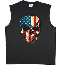 Men's sleeveless shirt American flag USA skull biker workout muscle tee tank top