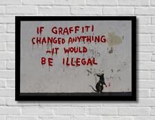 Banksy Tagging Rat Street Stencil Graffiti Art Poster Print Picture A3 A4
