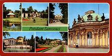DDR Breitbild-AK Sonderformat von POTSDAM Schloss Sanssouci Mehrbildkarte color