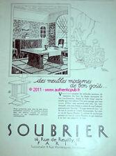 PUBLICITE SOUBRIER MEUBLE ART DECO 1927 RAOUL AUGER PUB