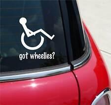 GOT WHEELIES? WHEELCHAIR HANDICAPPED GRAPHIC DECAL STICKER ART CAR WALL DECOR