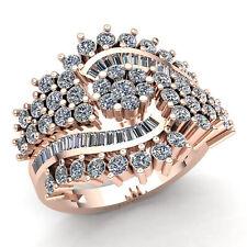 1.5ct Princess Cut Real Diamond Ladies Fancy Cluster Engagement Ring 10K Gold