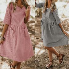 Summer Women's 1/2 Sleeve Long Shirt Dress Round Neck Stripe Knee Length Dress