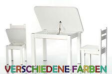 Kinder Sitzgruppe mit Tisch und Stühle Hocker Holz Set Kinderzimmer Möbel Weiß