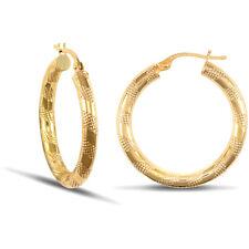 Jewelco Londres señoras de 9 quilates de oro amarillo Con Textura A Rayas 3mm pendientes de aro de 25 mm