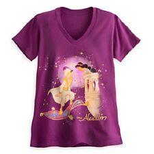 JASMINE+ALADDIN~Logo~Tee for Women~Gold Glitter~NWT~Disney Store~STAMP~2015