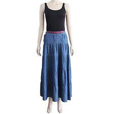 New Women's Blue Lightweight Tiered Maxi Denim Skirt Crinkle Wrinkle Size S M L