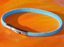 4mm blue Lizardskin print leather & stainless steel bracelet by Lyme Bay Art..