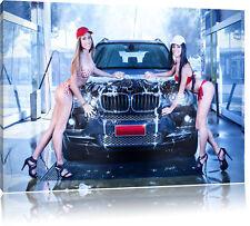 BMW X5 with Girls Leinwandbild Wanddeko Kunstdruck