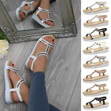 Womens ladies low wedge heel flatform slingback diamante T-Bar platform sandals