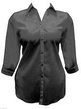 Womens New Plus Size Black Shirt / Blouse Plain Black Ladies Smart Casual *LICK*