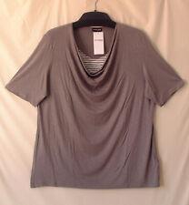 Samoon Shirt Gerry Weber Longstyle Viskose Stretch Schilf-braun mit Einsatz Gr.