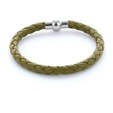 Lieblingsmensch® Armband Lederarmband 0,5cm geflochten Farbe: olive