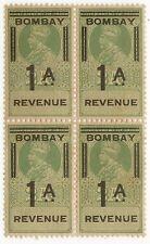 India BOMBAY 1915 KGV Revenue 1a UM MNH block of 4