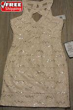 CRYSTAL DOLL Women Junior BLUSH PINK Lace Sequin Sheath Dress **NWT** $59