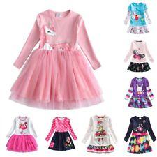 Long Sleeve Kids Flower Dresses Children Unicorn Autumn Kids Dress For Girls