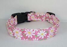 White Daisy on pink Terri's Dog Collar custom made adjustable Designer & charm