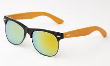 b5922e5d91e9 Matte Black Frame Bamboo Sunglasses Classic Sunny Yellow Mirror Lens Wooden