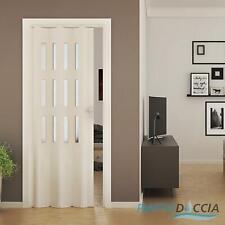 PORTE ACCORDÉON INTÉRIEUR PVC AVEC VERRE PLACARD 88,5x214 CM JOINT RIGIDE BOUTON