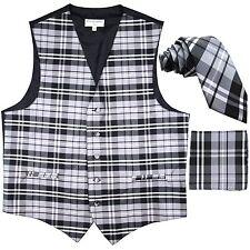 "New Men's Plaid Tuxedo Vest Waistcoat & 2.5"" Skinny Slim Necktie Set Gray prom"