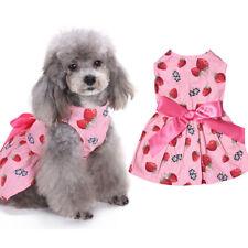 Pet Puppy Cat Dog Clothes Sweet Strawberry Ribbon Bowknot Decor Dress Glitzy NEW