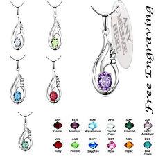 Personalised engraved Birthstone Necklace Jewellery Angel Wing Swarovski crystal
