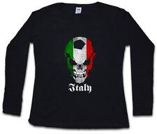 BLACK ITALY FOOTBALL SKULL FLAG WOMEN LONG SLEEVE T-SHIRT Fußball Italien