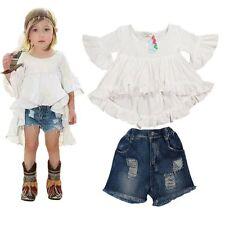 2pcs Baby Girls Fashion  Dovetail Dress + Denim Shorts Set Kids Summer Clothes