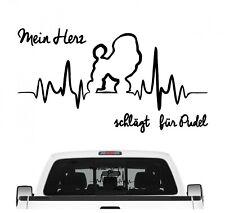 Pudel Pudle Poodle Aufkleber Auto Herz Heartbeat Hundeaufkleber Hunde Folie