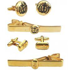 Allah Black Gold Cufflinks Tie Clip Set Islamic Muslim Religious Mens Shirt Gift