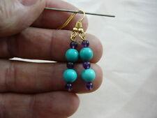(EE-474-9) teal turquoise Purple amethyst beaded dangle earrings gold