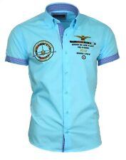 Viga reticulada de Luxe camisa camisa polo camisa manga corta Stick 82608 turquesa caballeros