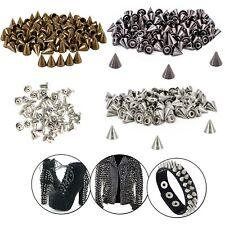 100pcs Punk Studs Cone Spikes Spots Rivets for Leather Jacket Belt Crafts DIY UK