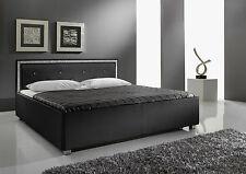 Diseñador cama de piel con Swarovski Elements Cuero tapizada Negro O Blanco